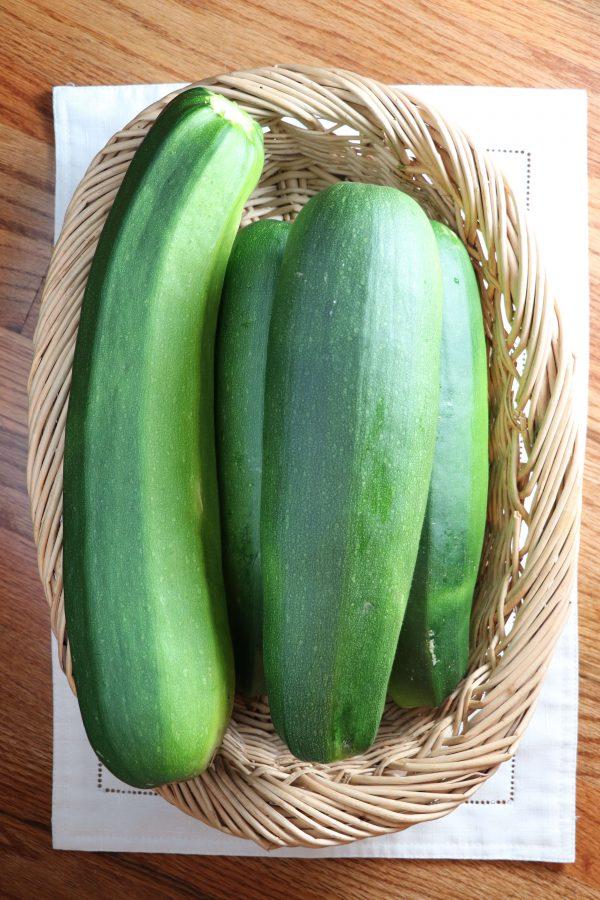 green squash zucchini in basket