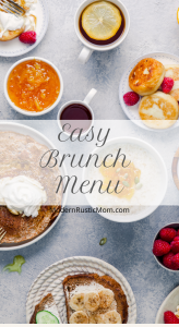 brunch spread coffee fruit eggs pancakes
