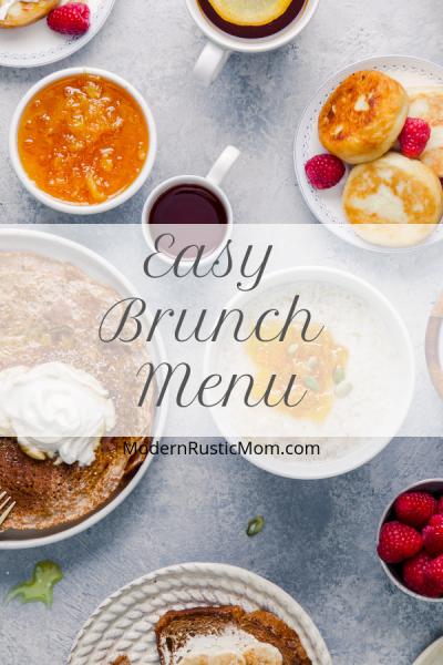 brunch spread coffee fruit eggs pancakes